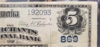 THE MERCHANTS NATIONAL BANK 1905  $5 DOLLAR NOTE