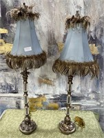793 - BEAUTIFUL BLUE FEATHER TABLE LAMPS
