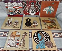LOT OF 8 CLEO TEISSEDRE CERAMIC TILES - MANY USES