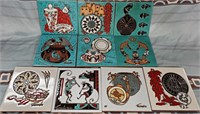 N - LOT OF 10 TEISSEDRE DESIGN TILES - MANY USES