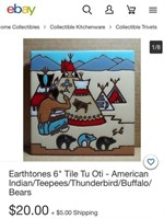 N - LOT OF 8 EARTHTONES SOUTHWESTERN TILES
