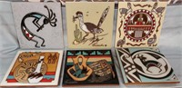 N - LOT OF 6 CERAMIC TILES HANDCRAFTED - MANY USES