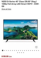 "C - NEW VIZIO D-SERIES 40""LED SMART HDTV D40F-G9"