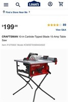 C - CRAFTSMAN 10IN CARBIDE-TIPPED BLADE TABLE SAW