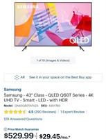"""C - NEW SAMSUNG 43"""" QLED Q6OT SERIES 4K SMART TV"""