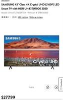 "SAMSUNG 43"" CLASS 4K CRYSTAL LED SMART TV W/HDR"