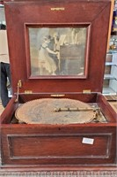 793 - STUNNING ANTIQUE METAL RECORD PLAYER