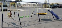 LG SWINGSET W/SLID;HORSE;TETTER & BUCKET SWING (2)