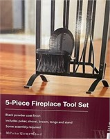 NEW 5 PIECE FIREPLACE TOOL SET IN BLACK