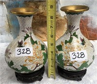 328 - LOT OF 2 BEAUTIFUL VASES ON WOOD BASES
