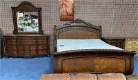 BEAUTIFUL KING BED W/DRESSER/MIRROR & NIGHTSTAND