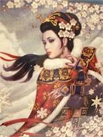 714 - STUNNING FRAMED ART OF ASIAN WOMAN