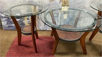 793 - LOT OF 3 WOOD & GLASS ACCENT TABLES