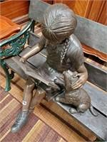 794 - STUNNING BRONZE GIRL W/PUPPY ON BENCH
