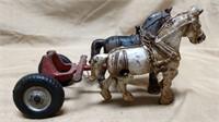 Arcade Cast Iron Horse & Wagon Set