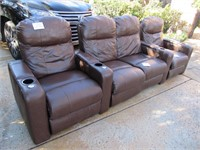 4 Electronic Reclining Theater Leather Chairs