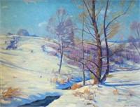 "Frank V Dudley, 23x30, ""Thru Drifted Snow"", 1928"