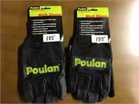 2 Pair Poulan Work Gloves