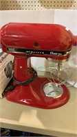 KitchenAid classic plus red stand mixer, with a