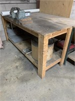 Wooden Work Station with Vise and Contents