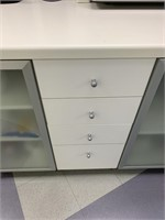 Modern Cafe Hutch with Opaque Glass and Drawers