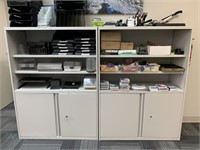Two Office Cabinets Packed with Office Supplies