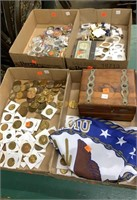 4 Flats; Coins, Dollar Bill, Flag, Tokens