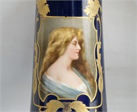 2 Royal Bonn Portrait Vases - Cobalt & Gilt