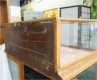 Antique glass American Oak table-top showcase