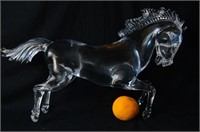 A signed art glass horse sculpture