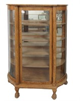 American Oak Curved Glass China Cabinet