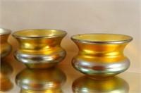 Steuben Aurene miniature Iridized glass salts