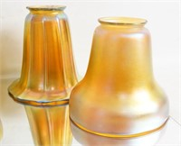 Quezal and Steuben Iridized glass lamp shades 8