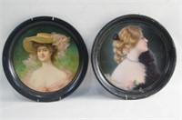 Two Vintage tin portrait trays - Coshocton