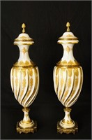 French porcelain urns w gold overlays and brass
