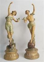 "Pair of 20"" Art Nouveau Italian statues - Lovers"