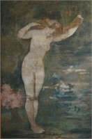 """Art Nouveau painted tapestry """" Nude on the water"""""""