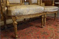 Two Antique French Louis XVI Gilt Chairs