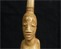 African Shamans rattle - female figure carved horn