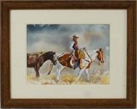 Buck Taylor Original Western Watercolor
