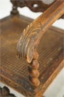 19th cent. English wood carved arm chair w cane