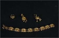 Mixtec style 14 kt Gold bracelet, earrings & ring