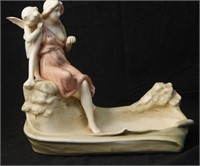 Antique French porcelain centerpiece, Lady & Angel