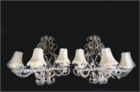 Pair of Crystal three light wall sconces