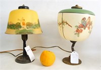 Antique Boudoir Lamps - frosted & handpainted -2