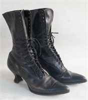 Pair of Black leather laced Victorian Ladies Boots
