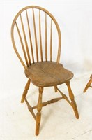 Pair early American Windsor plank chairs