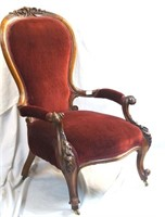Finely carved Victorian Chairs & stool 4 pc's
