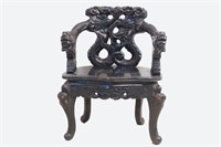 Chinese Ebonized carved dragon chair