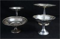 Antique Sterling compotes and bon bon dish 4 pc's